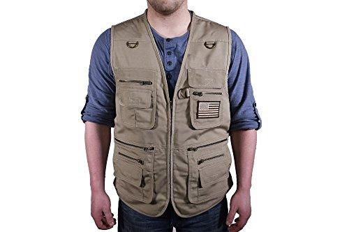 BLUE STONE SAFETY Concealment Vest Concealed Carry Vest Travel Vest Hiking Fishing Outdoor Sportsman Vest Outerwear (Tan, 6XL)