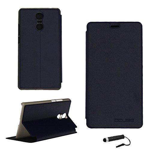 Ycloud Tasche für Bluboo Maya MAX Hülle, PU Ledertasche Metal Smartphone Flip Cover Hülle Handyhülle mit Stand Function Marineblau
