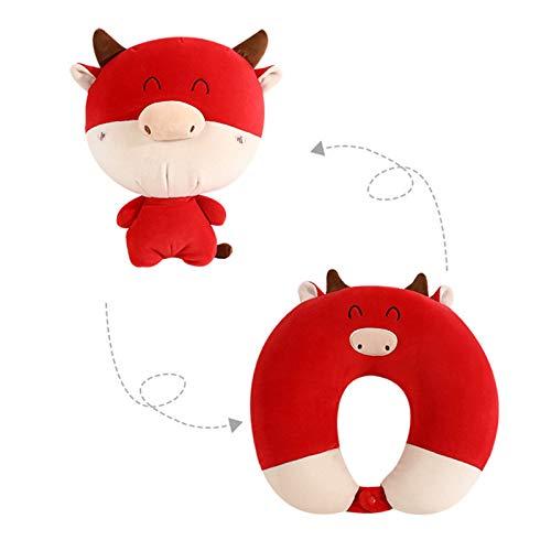 Almohada suave Juguetes de dibujos animados chinos año buey en forma de U almohada de viaje de doble propósito almohada de año nuevo Lucky Zodiac Home Car Decoraciones