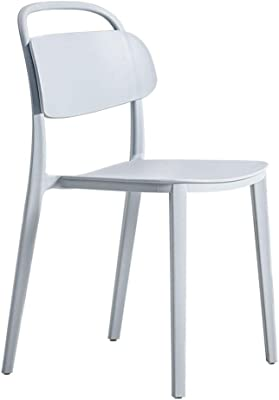 LiChenYao Simple Leisure Chair Plastic Horn Chair Chair Home Color Dining Chair Cold Drink Shop Cafe Restaurant Chair (Color : Gray)