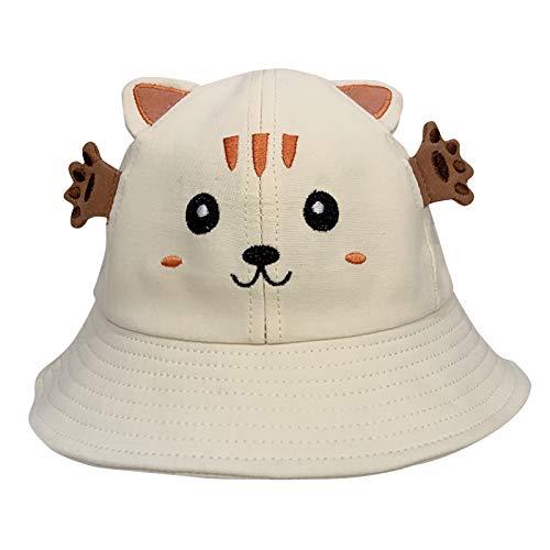 Kuksoa Sombrero De Pescador para NiñOs NiñOs NiñAs Primavera Verano Sombrero De AlgodóN para El Sol PatróN De Dibujos Animados Sombrero De Cubo Sombrero De Sol NiñOs Playa Viaje con GB(Blanco)