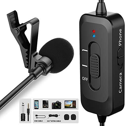 Ansteckmikrofon Lavalier Mikrofon für iPhone/Kamera/PC/Android mit USB-Lade omnidirektionales Ansteckmikrofon mit Rauschunterdrückung für YouTube Interview Video