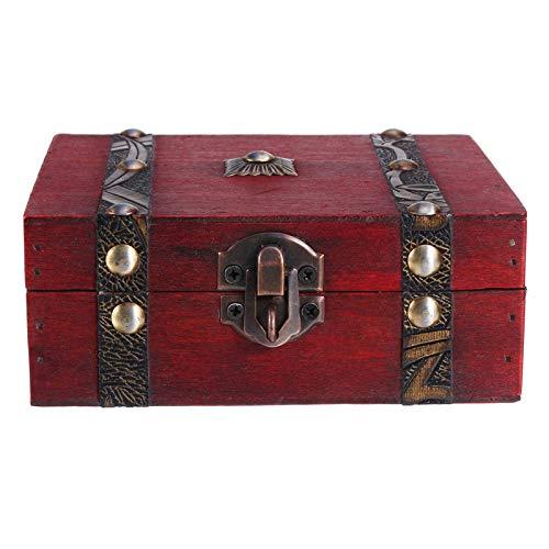 AOWU Caja de almacenamiento de joyas de madera, vintage, caja de almacenamiento para joyas de madera, organizador de regalo con cerradura, para dormitorio (tamaño: grande; color: madera)