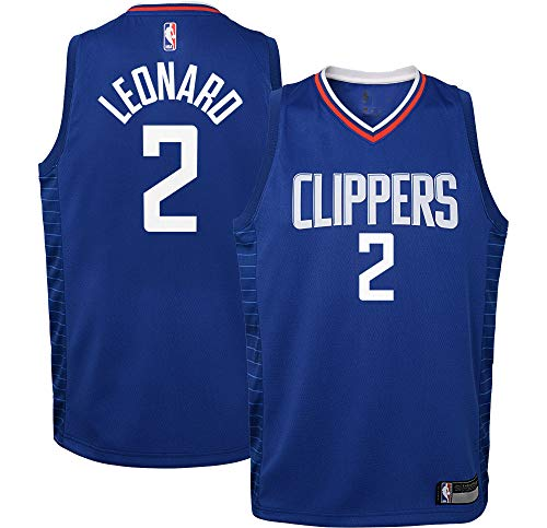NBA Kids 4-7 Official Name and Number Replica Home Alternate Road Player Jersey (5/6, Kawhi Leonard Los Angeles Clippers Blue Icon Edition)