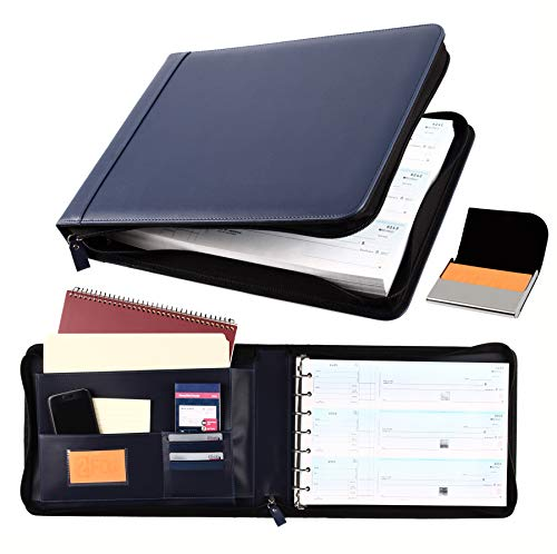 2Fold Zippered Business Check Binder 7 Ring for 3-Up Business Size Checks with Extra Business Card Case - PU Leather Deluxe 7 Ring Checkbook Binder Portfolio with 600 Check Capacity and Storage