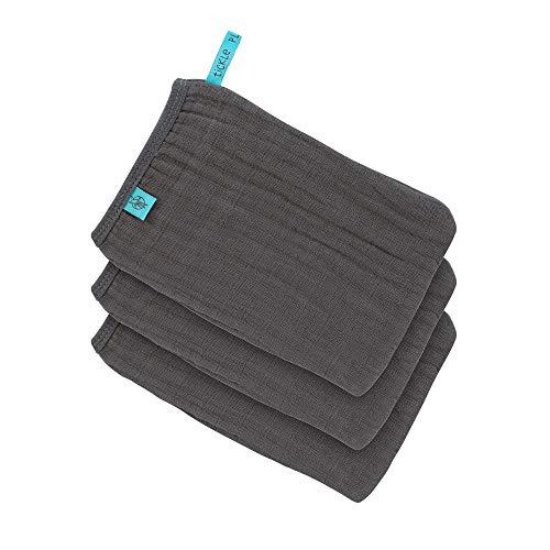 LÄSSIG Muslin Waschhandschuh Waschlappen Baumwolle 3er Set/Wash Glove anthracite
