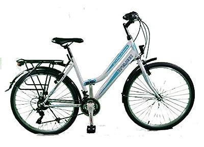 breluxx® 24 Zoll Damenfahrrad Mädchenrad Citybike weiß - 21 Gang Shimano + Beleuchtung
