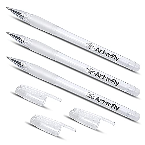 White Gel Pen for Artists 0.7mm Fine Point - Smudge-resistant White Pen for Art Drawing, Sketching & Writing (3pack) - White Ink Pen Highlight Fineliner - Archival Gel Ink - Opaque on Black Paper
