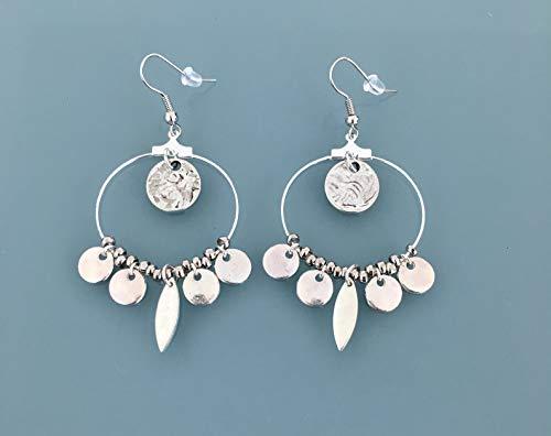 Orecchini creoli in argento in acciaio con nappe in argento, gioielli da donna in argento, creoli in argento, regali di gioielli