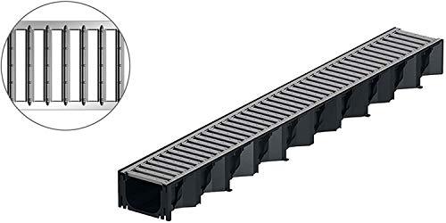 1 m ACO Hexaline Entwässerungsrinne Stegrost Stahl verzinkt Rinne Bodenrinne Terrassenrinne