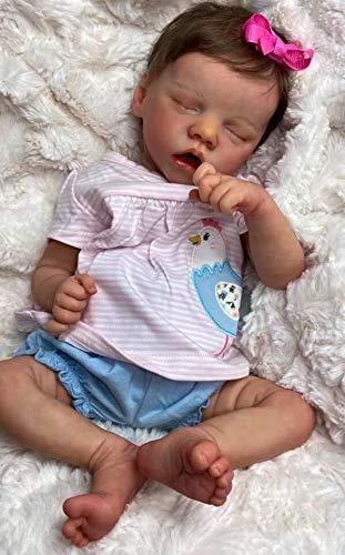 Zero Pam Sleeping Reborn Baby Dolls Silicone Girls Weighted Body Handmade Life Like Baby Realistic Dolls 18 inch Newborn Dolls Preemie Size Girls