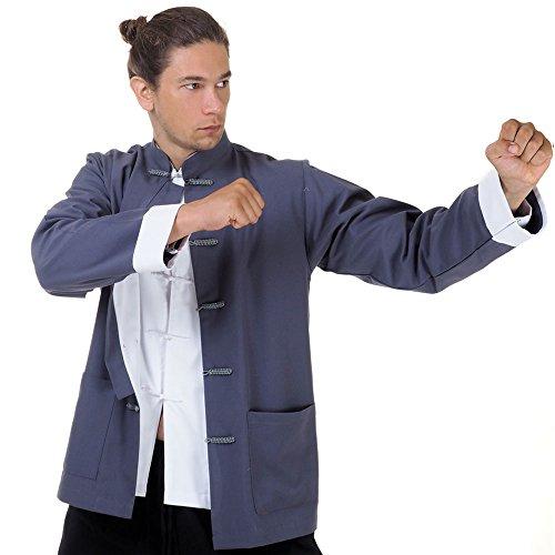 Asia China Kung-Fu Tai-Chi & Meditations Jacke T-Shirt Baumwolle (M, Grau)