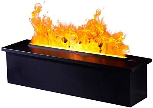 Chimenea de vapor electrónica,sin función de calefacción,estufa decorativa LED con llama atomizada simulada en 3D,inserto de chimenea cuadrado con control remoto inteligente,negro,116 cm/46 pulgadas