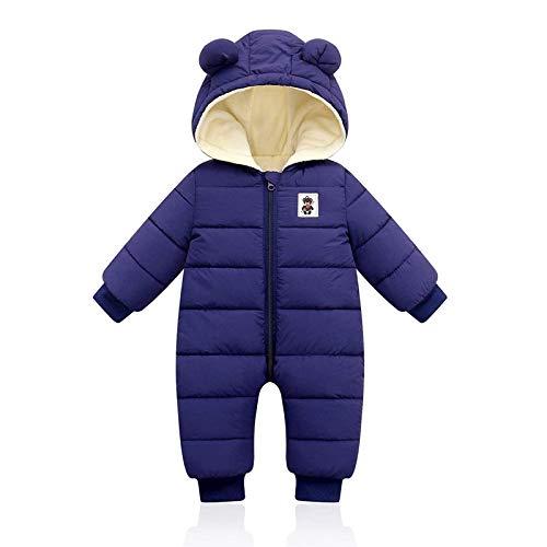 NYKK Traje de Esquiar Bebé Invierno Mameluco, niños niñas niños niños bebés Simples algodón Sleepsuit Outwear Warm Snowsuit Hoodie otoño Jumpsuit Chaqueta de Esquí (Color : Blue, Size : X-Larg