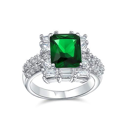 Bling Jewelry 5Ct Zirkonia Cz Pflaster Rechteck Grün Simuliert Smaragd Geschnitten Statement Mode Ring Für Frauen Silber Vergoldet Messing