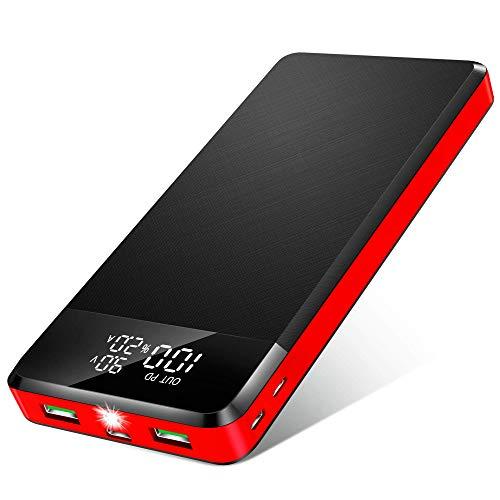 ORITO 26800mAh Power Bank USB C PD18W & QC3.0 Rápido Cargador Portátil, Bateria Externa Móvil Gran Capacidad con 3 Entradas y 3 Salidas y Pantalla LCD, para Móviles y Tabletas etc (Negro Rojo)