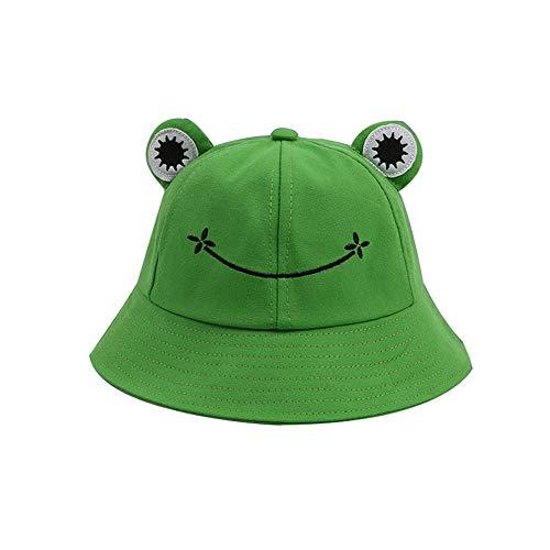 YTFU Buckethut für Erwachsene, Frosch, Anglerhut, Sonnenhut, Sommermütze aus Baumwolle, niedlicher Frosch-Hut für Damen, Baby - Mädchen, KD3IJVS14293200A5773S, Grün 53–55 cm., 53-55 cm