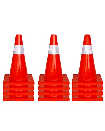 12 Pcs Traffic Safety Road Cones - 18 Inch Orange Traffic Parking Cons with Reflective Collar
