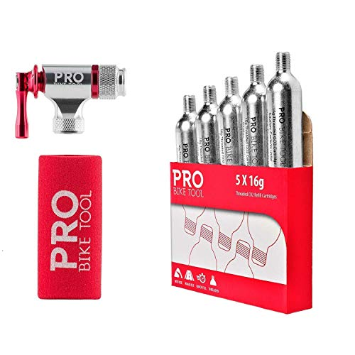PRO BIKE TOOL CO2 Inflator + 5 x 16g Threaded CO2 Cartridges Bundle - Quick & Easy - Presta and Schrader Valve Compatible - Bicycle Tire Pump for Road and Mountain Bikes