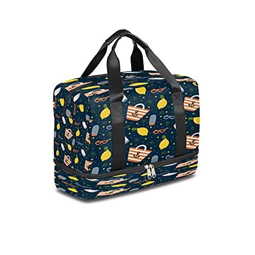 Bolsa de deporte para gimnasio, gafas de sol de limón bolsa de viaje ligera durante la noche con bolsillo húmedo y compartimento para zapatos bolsa impermeable para hombres y mujeres