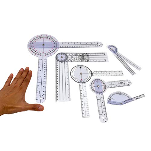 """Goniometer Kit Physical Therapy Set That Measures Joint's Range of Motion. 6 pcs That Includes: 12"""",8"""",6"""", Spinal, Finger, and 6-in 180 Degree. Also Used in Occupational Therapy, Clinical, Home Use."""