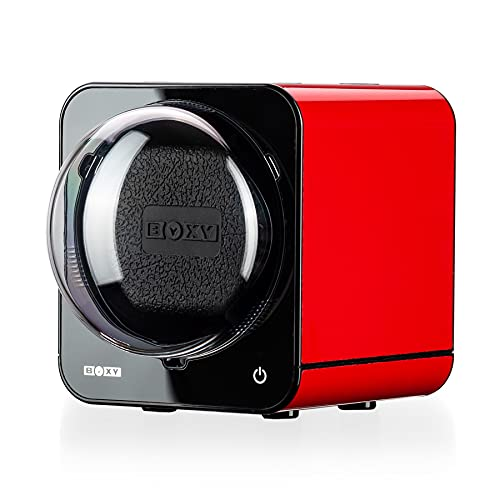 Watch Winder for Automatic Watches with Vertical Rotor Stop (with AC Adapter, Red)