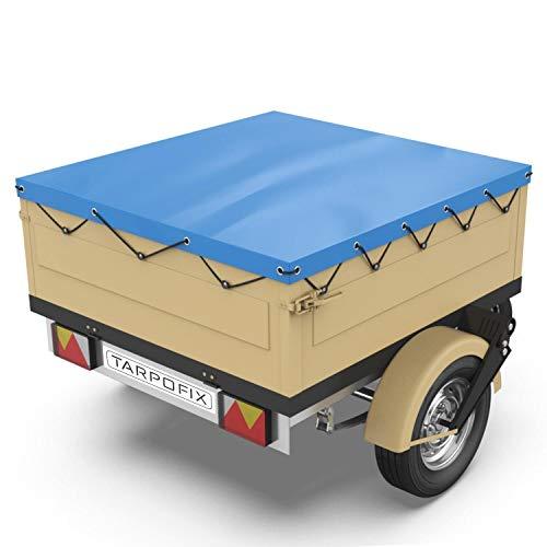 Tarpofix® Anhängerplane Flachplane 140 x 105 x 7,5 cm - inkl. Planengummi - randverstärktes Anhänger Planen-Set (blau) - langlebige Anhänger Abdeckplane für Stema DDR...