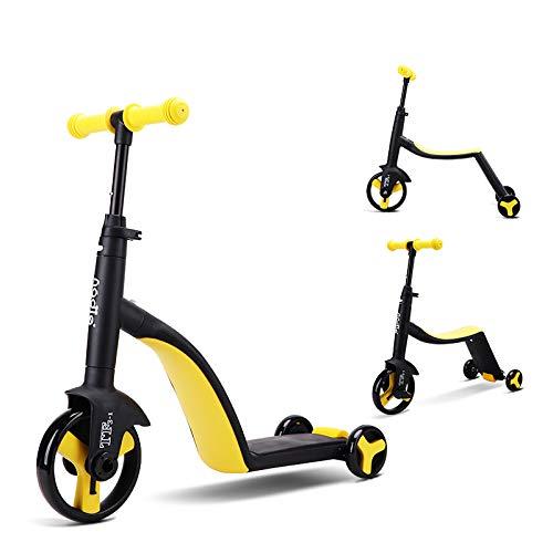 TmDo Dreirädriges Kinderfahrrad, 3-In-1-Kinderfahrrad, Multifunktions-Kinder-Laufrad Jungen- / Mädchen-Rollerfahrrad,Gelb
