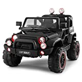 Fitnessclub Electric Cars for Kids, 12V Powered Kids Ride On Car with 2.4 GHZ Bluetooth Remote Control, LED Lights, MP3 Player, 3 Speeds, Waterproof Cover (Black)