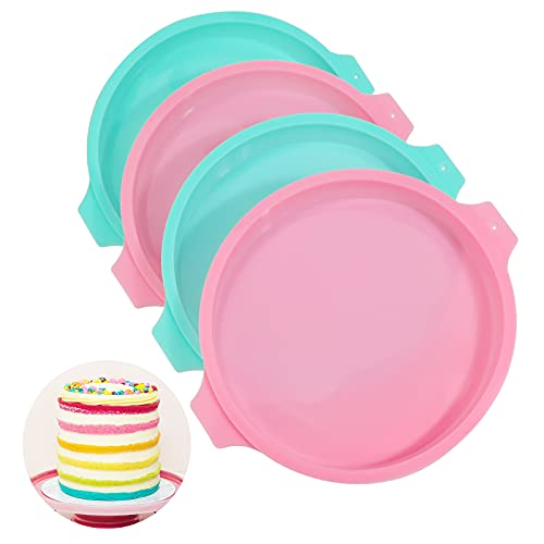 PHOGARY 20,3 cm Kuchenformen zum Backen, 4-teiliges Silikon-Kuchenform-Set, mehrlagige Kuchenform für Regenbogen-Kuchen, runde Formen
