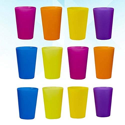 ifundom Vasos para niños, 12 unidades de vasos de plástico para niños en 6 colores surtidos, vasos para beber, vasos para niños pequeños, vasos irrompibles