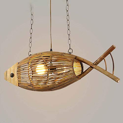 Lámpara de araña vintage, lámpara colgante con forma de pez de bamb