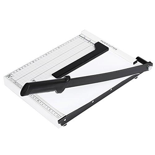 Meditool Guillotina de Papel A3 B4 A4 Cortador de Papel,32.5 x 25.5 x 3cm,Base de Metal,Blanco (A4)