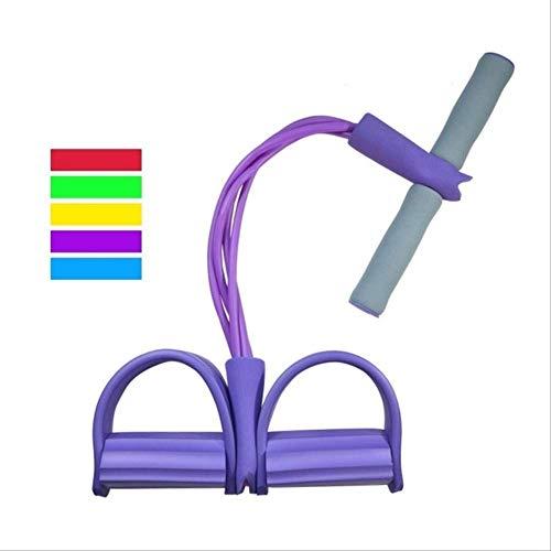 qwerbz 4 Resistanc Elastic Pull Ropes Exerciser Rudergerät Belly Resistance Band Home Gym Sporttraining Elastic Bands Für Fitnessgeräte Einheitsgröße Lila