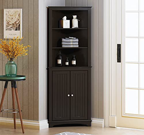 Spirich Home Tall Corner Cabinet with Two Doors and Three Tier Shelves, Free Standing Corner Storage Cabinet for Bathroom, Kitchen, Living Room or Bedroom, Espresso