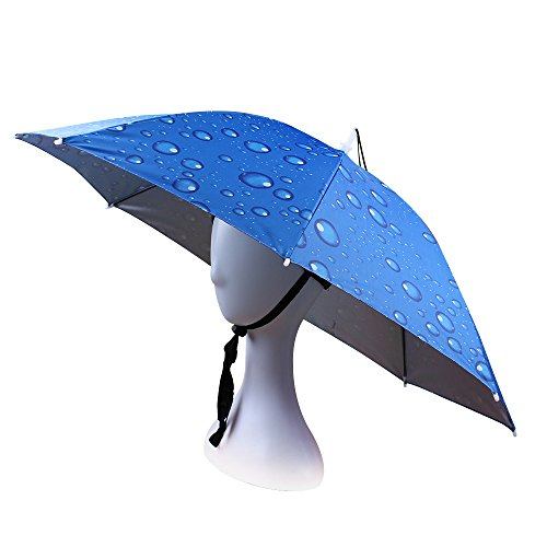 Chapeau de Parapluie Pêche Randonnée Chapeau Avec Band Elastique Adult Anti-Uv Chapeau Pour Bricolage Jardin (Bleu)