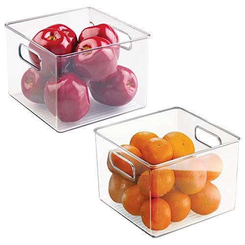 mDesign Juego de 2 Cajas organizadoras para Alimentos – Tamaño pequeño – Cajas de almacenaje con Asas – Ideales para despensa, frigorífico o congelador – Accesorios de Cocina – Transparente