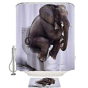 ENJOHOS 3D White Elephant Shower Curtain Polyester Waterproof Fabric Bathroom Curtain Set with Bathroom Area Mats Anti-Slip Rugs,Shower Curtain 71''x 71'',Mats 15'' x 23''