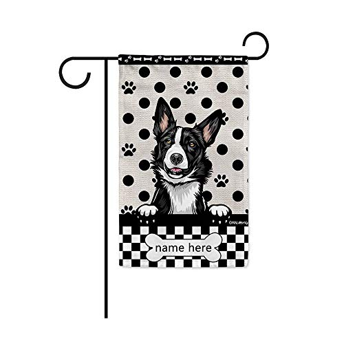 MALIHONG Personalized Dog Lover Garden Flag Cute Peeking Dog Border Collie Polka Dot Buffalo Plaid Checked Flag for Home Decor 12.5X18 Inch Printed Double Sided