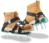 Aireador de Cesped Zapatos, Aireador de césped con Correas Ajustables y 26 Clavos en Acero, se Adapta a Todos los Zapatos o Botas, para tu Césped, Jardín, Jardinería,Green