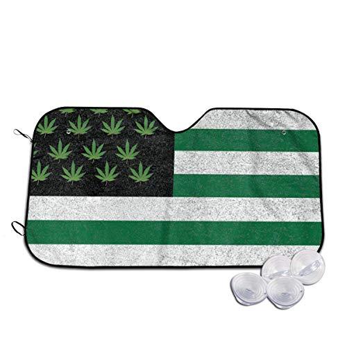 Osmykqe Weed - Parasol universal para parabrisas de coche, diseño de bandera de EE. UU.