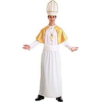 Pious Pope Men s Halloween Costume Catholic Cardinal Bishop Pontiff Clergy Robe