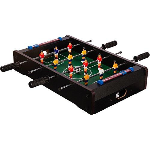"Maxstore Mini-Tisch-Kicker Tischfussball ""Dundee"", schwarzes Holzdekor, Maße: 51x31x8 cm, Gewicht: 2,6 kg, 4 Spielstangen, inkl. 2 Bälle"