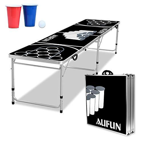 LZQ Beer Pong Tisch Beer Pong Table Höhenverstellbar Klappbarer Partyspiele Trinkspiele inkl. 5 Bälle und inkl. 100 Bechern in Rot und Blau (je 50 STK.) Kratz und Wassergeschützt