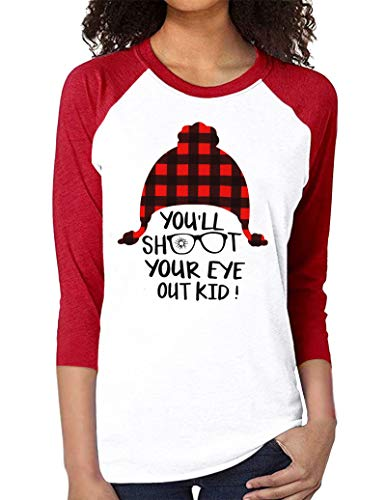 Christmas Shirts for Women You Will Shoot Your Eye Out Tshirt Funny Saying Xmas Plaid Hat Printed Raglan 3/4 Sleeve Tops Red