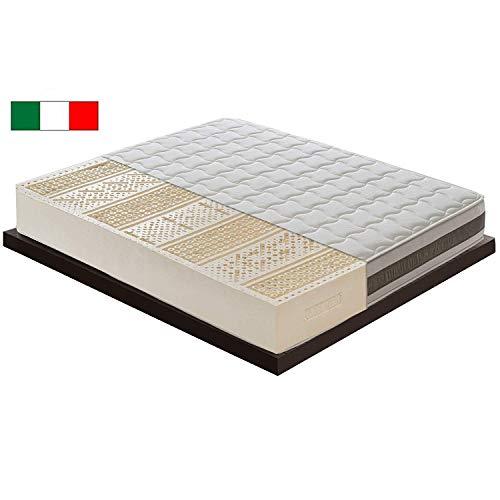 M & D–Materasso in lattice, altezza 21 cm, con 7aree diverse–100% latex–Ortopedico–Rivestimento rimovibile–ergonomico - antibatterico - anti-acaro–100% Made in Italy–elastico e indeformabile, 180x200cm - Super King Size - 6FTx6FT6