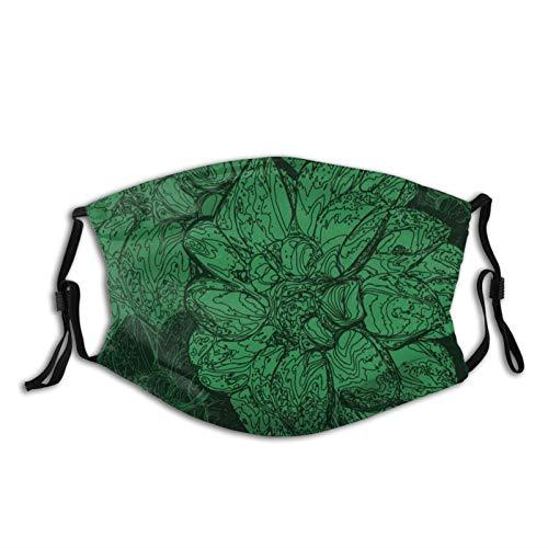 Bufanda lavable Ma-sk con pendientes ajustables para hombre y mujer, diseño floral, color verde esmeralda