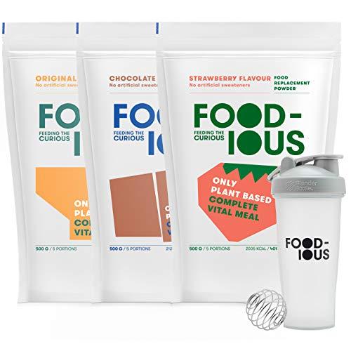 FOODIOUS Eiweißpulver Testpaket mit Free Shaker-100% Vegan-Ideal als Mahlzeitersatz oder Diät Shake-3 Aromen x 500g=15 Mahlzeiten-Premium Zutaten-Astronautennahrung-Low in Zucker Protein Pulver