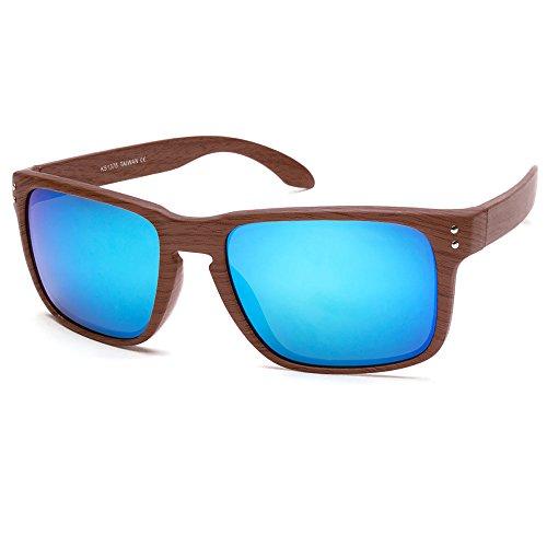 KISS Gafas de sol WOOD Line - mod. RACING FLAT Wood Effect - coches deportivos y motos para hombres y mujeres - NATURAL WOOD/Azul