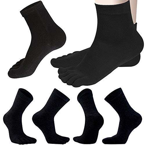 REKYO Männer Zehen Socken Low Cut fünf Finger Socken weichen & atmungsaktiven niedrig geschnittene Baumwollsocken für Männer (schwarz lang)